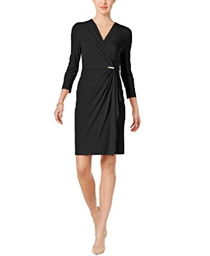 Faux Deep Black Charter Dress Wrap Club gxq6waUO