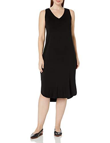Amazon Brand - Daily Ritual Women's Plus Size Jersey Sleeveless V-Neck Dress, 2X, Black