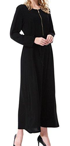 Grande Soie Des Femmes De Fermeture À Glissière Manches Longues Muslim Caftan Ceinturé Longue Robe Noire Abaya