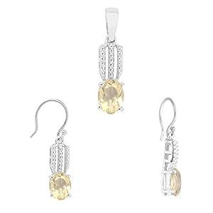 Oval Cut Lemon Quartz 925 Sterling Silver Pendant Earring Jewelry Set