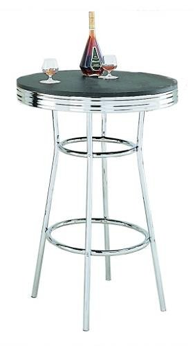 Bar Table In 50's Retro Nostalgic Soda Fountain Style With Chrome Plating and Black Wooden Top ()