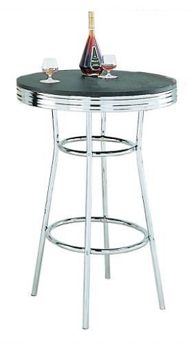 Retro Soda Fountain Style Bar Table W/Chrome Plating U0026 Black Top