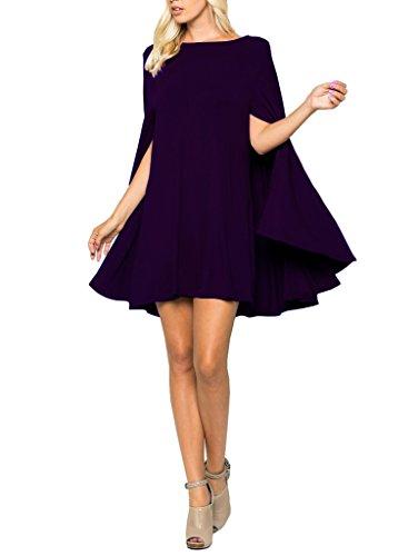 12 Ami Solid Long Cape Sleeve Mini Tunic Dress Dark Purple M