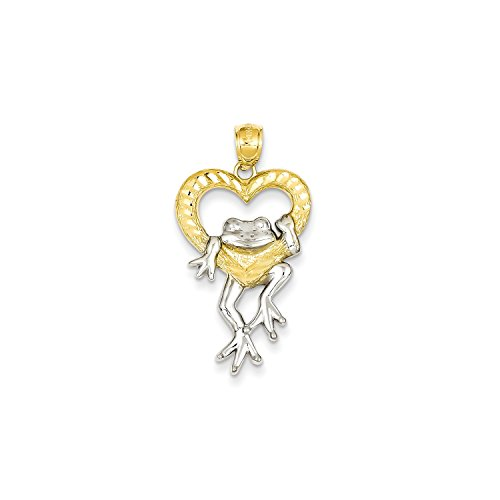 Yellow Gold Frog Pendant - Roy Rose Jewelry 14K Yellow Gold and Rhodium Diamond-cut Frog in Heart Pendant