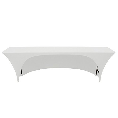 Your Chair Covers - Stretch Spandex 8 Ft x 18 Inches Open Back Rectangular Table Cover White, 96 Length x 18 Width x 30 Height Fitted Tablecloth for Standard Classroom Folding Tables