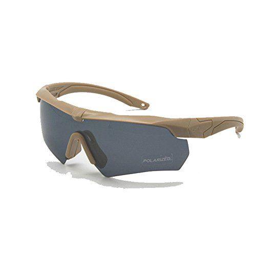 Ballistic Military Goggles 3LS, 4LS 5LS Kit Polarized Army Sunglasses Men's Tactical Eyeshield (tan, 5 Lenses (1 Polarized out of 5))