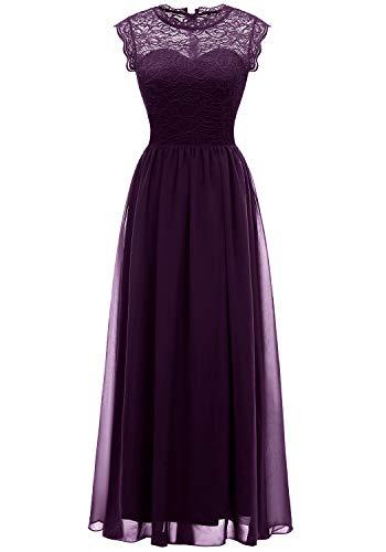 MUADRESS 6056 Women's Vintage Lace Chiffon Bridesmaid Formal Evening Party Maxi Dress Grape Medium