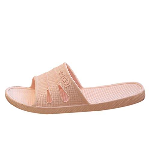 Qianle Unisex House Slippers Anti-slip Home Shoes Bathroom Slipper Pink 40 US7.5