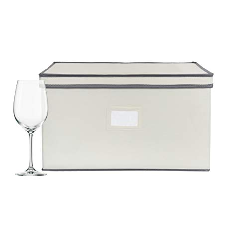 Chapman & Grand Wine Glass Storage Chest, Protective Container Box with Lid for Stemware, (Light Beige-Gray)