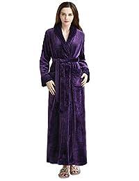 Hellomamma Long Bath Robe for Women Plush Soft Fleece Night Bathrobe Dressing Gown