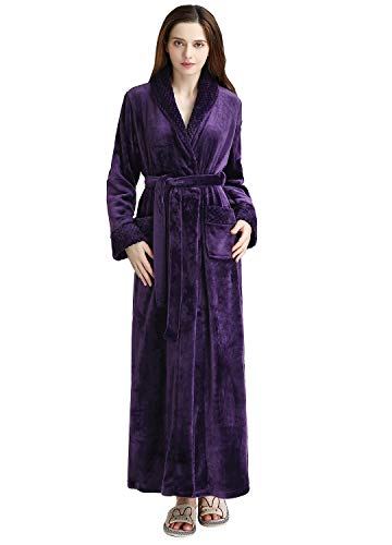 Long Bath Robe for Womens Plush Soft Fleece Bathrobes Night Robes Dressing Gown Purple