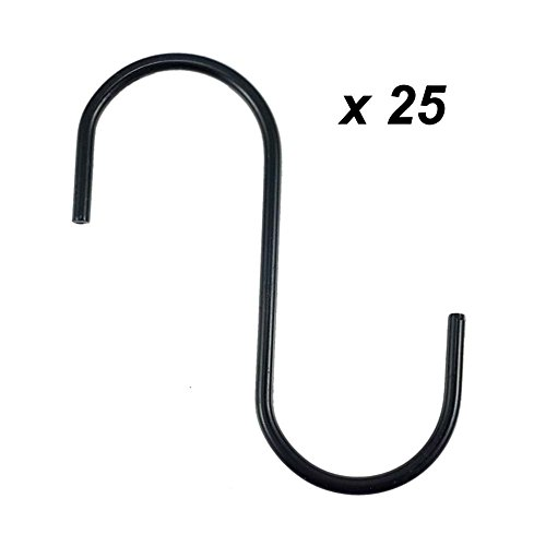 Pvc Hanging (SumDirect 25Pcs Steel Black S Hooks With PVC Coating For Hanging Plants, Towels, Pans, Pots, Bags, Curtains (25PCS))