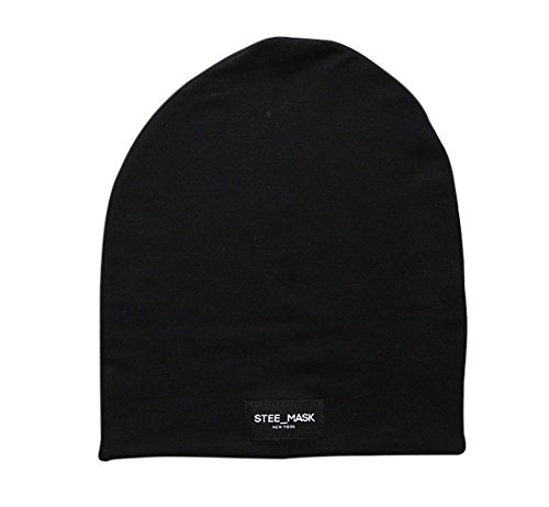 Silk Winter Hat (STEE MASK Premium Winter Beanie Hat, Silk Lined, Soft Knit Fabric, Black, Made in USA)