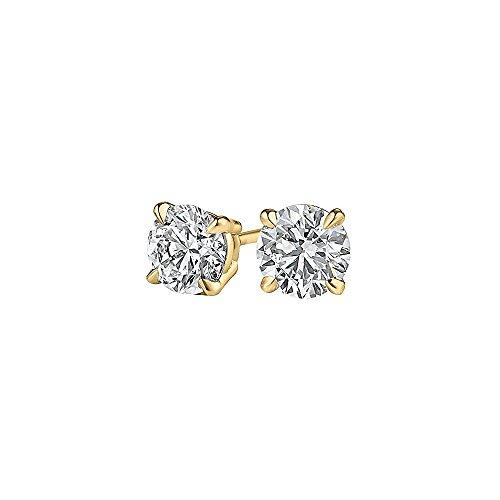 Half Carat Diamond Stud Earrings in 14K Yellow Gold