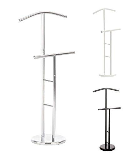 CLP stilvoller Metall-Herrendiener RAYMON, für Sie & Ihn, Hosenstange + Kleiderbügel silber