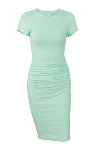 Mint Womens Dress - Missufe Women's Ruched Casual Sundress Midi Bodycon Sheath Dress (Medium/Large, Mint)