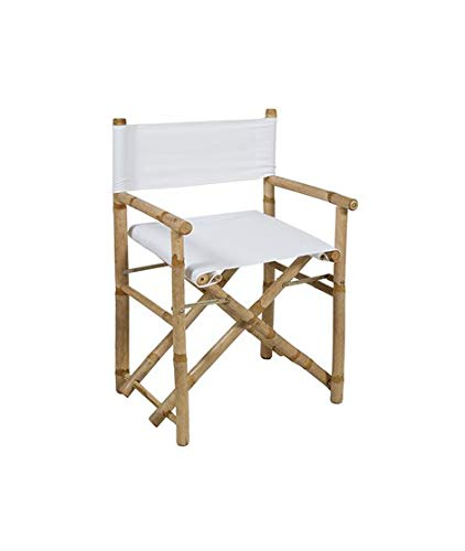 Silla Director Plegable de bambú con Tela Blanca: Amazon.es ...