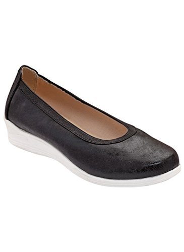 Comfort-well Dames Volwassen Heidi Slip-on Casual Zwart Metallic