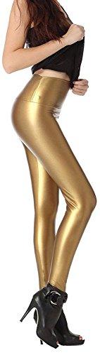 - SlickBlue Womens Faux Leather High Waist Stretchy Durable Polainas Pants(Leggings) Matt Gold,XL