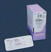 Johnson & Johnson J393H Ethicon Suture, Vicryl, Size 3-0, FS-2 Needle, 18'' Length (Pack of 36)