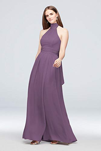 - David's Bridal Tie Mock-Neck Ruched Georgette Bridesmaid Dress Style F19997, Wisteria, 2