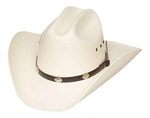 Classic Cattleman Straw Cowboy Hat with Silver Conchos and Elastic Band - White - -