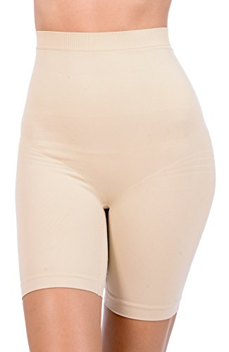 GCool Tech Patricia Lingerie Women's Anti-bacterial Fabric Hi-Waist Shapewear Shorts (Nude, (Extra Firm Control Long Leg)