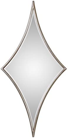 MY SWANKY HOME Oversized Curved Retro Diamond Wall Mirror 60 Tall Silver Star Harlequin