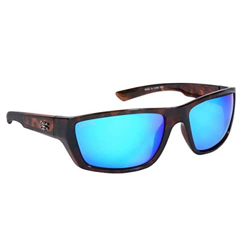 Calcutta SW1BMTORT Shock Wave Sunglasses, Tortoise Frame/Blue Mirror Lens