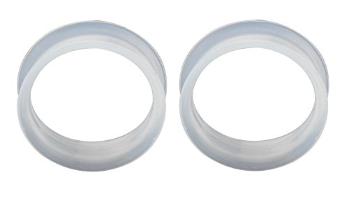 (Pair of Super Thin Walled White Silicone Double Flared Tunnels (25mm (1