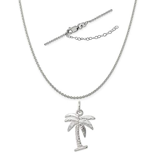 Sterling Silver Palm Tree Charm on a 1.25mm Cable Chain Necklace, 18