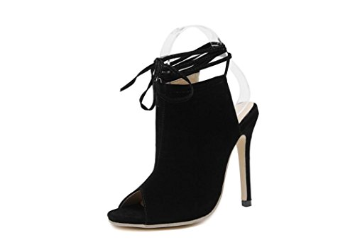 LvYuan-mxx Zapatos de los altos talones de las mujeres / verano del resorte / cordón atractivo / oficina y partido de la carrera y vestido de noche / talón de estilete / sandalias , gray , us6 / eu36  BLACK-US8EU39UK6CN39