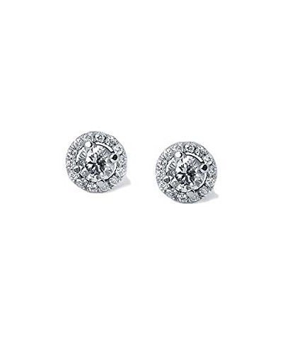 0.60ctw F-G/SI1-SI2 Round Diamond Halo 4-Prong Stud Earrings in White Gold - Diamond Earrings White Gold for Women (Si2 Si1 Earrings)