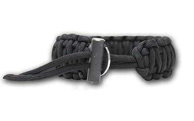 Bison Designs Cobra Pattern Flint and Knife Para Cord Survival Bracelet (Black, Adjustable) by Bison Designs