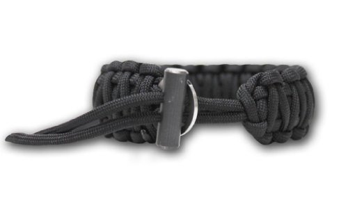 Bison Designs Cobra Pattern Flint and Knife Para Cord Survival Bracelet (Black, - Pattern Flint