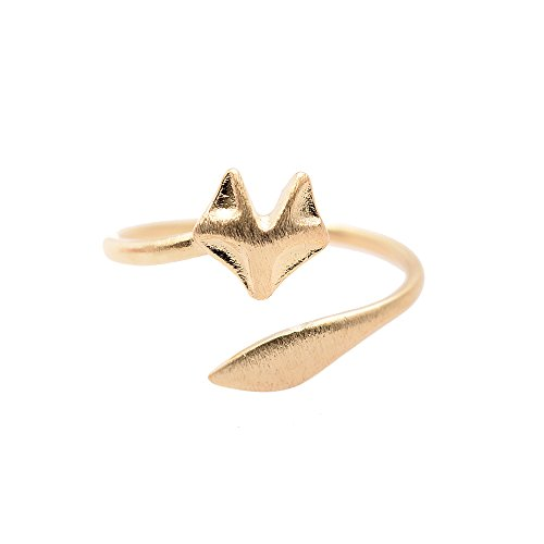 chelseachicNYC Handcrafted Brushed Metal Sleek Fox Head Ring Gold