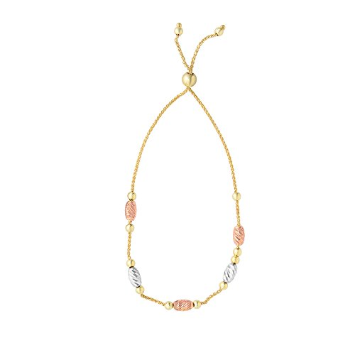 MCS Jewelry 14k Yellow Gold Adjustable Bolo Bracelet with White & Rose Gold Elements (Adjustable Length: 9 1/4)