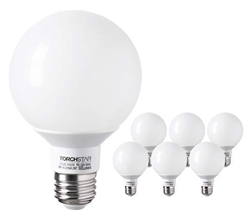TORCHSTAR G25 Globe led Bulb, Dimmable Vanity Light, 7W (60W Eqv.), UL-Listed, -