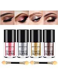 Pigment Eye Glitter Makeup Shadow - ETEREAUTY Glitter Eyeshadow Palette Shimmer, Makeup Eye Shadow Powder 4 Colors Glitter Powder Loose with Eyeshadow Brush for Party Festival Eyeshadow Pigments, Makeup, Nail Art Tips Decoration