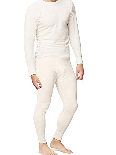 Place and Street Men's Cotton Thermal Underwear Set Shirt Pants Long Johns Fleece Lined White ()