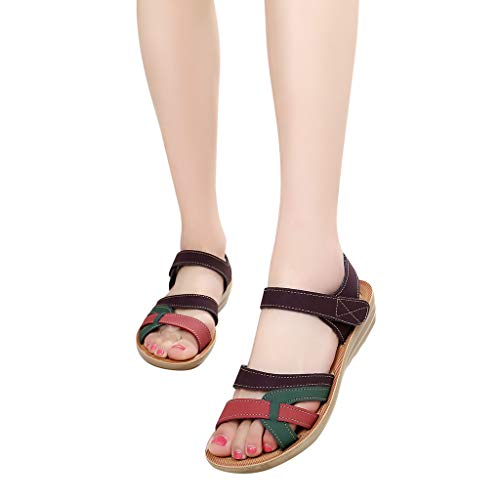COOKI Women Sandals Summer Color Block Leather Sandals Comfort Wedges Sandals Casual Beach Sandals Shoes -
