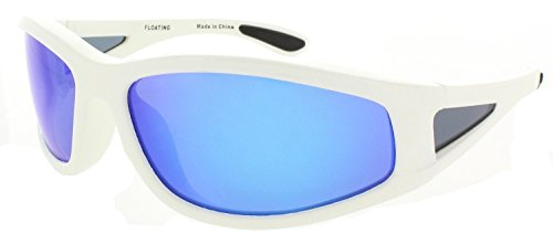 Fiore Polarized Floating Sunglasses for Fishing, Boating and Water Activities (White-Blue RV)