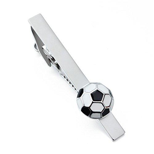 Football Tie Clips - HAWSON Unique Football Pattern Man Tie Bar Clip for Necktie Accessories Silver