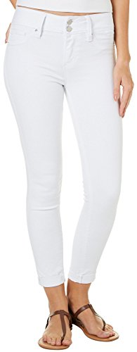 Double Button Skinny Jean - YMI Women's Super Soft Midrise Double Button Anklet, White Size 7
