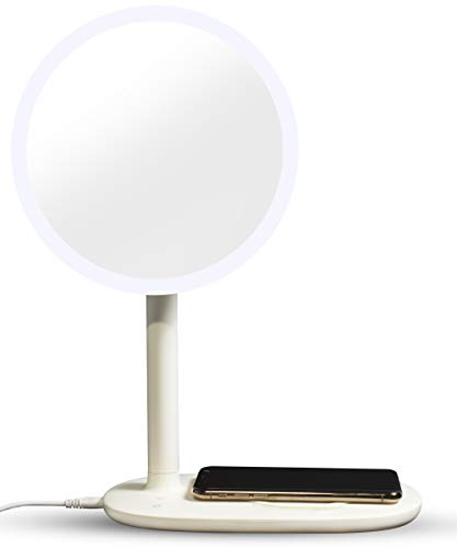 GlamStation Mini Makeup Mirror with Lights - 3 in 1 Vanity Mirror, LED Desk Lamp, and Wireless Phone Charger -Dimmable (Ivory)