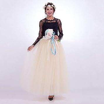 NVDKHXG Moda 7 Capas 100 cm Tulle Faldas de Boda de Las Mujeres ...