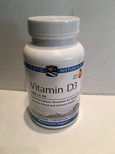 Nordic Naturals Vitamin D3-25 mcg (1000 IU), Daily Dose of Vitamin D3 Supports Bone Health and Immune System Function, Helps Regulate Mood and Sleep Rhythms, Orange, 120 Count (The Best Prenatal Vitamins 2019)