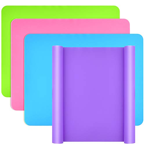 Coopay 4 Pieces Large Silicone Sheet Silicone Mats for Crafts Resin Jewelry Casting Mat Tumbler Sheets Food Grade Silicone Placemat(Blue, Purple, Pink, Green, 11.4 x 10.2)