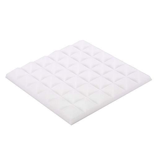 EOWEO Removable Wall Stickers,Acoustic Foam Panel Sound Stop Absorption Sponge Studio KTV Soundproof(30x30x5cm,White) ()