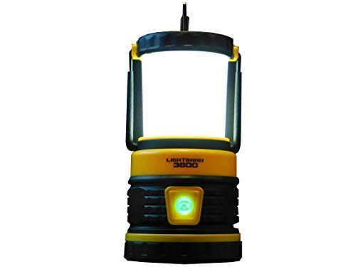 LIGHTBANK | Heavy Duty LED Rechargeable Lantern | 5 Light Modes | USB Phone Charging | 200 Hour Runtime | 3 Hangers | Storage Cubicle | Waterproof | 300 Lumen, Yellow, Single